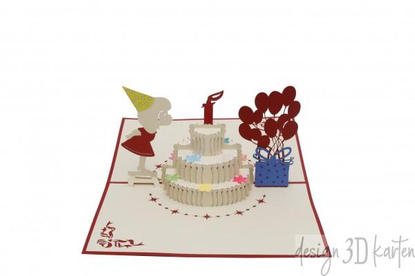 Mädchen mit Geburtstagskuchen von design3dkarten