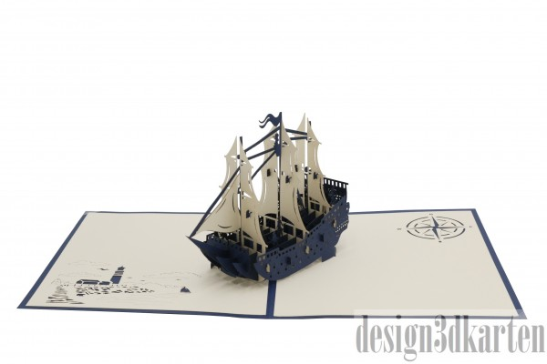 Schiff mit Besatzung, blau von design3dkarten