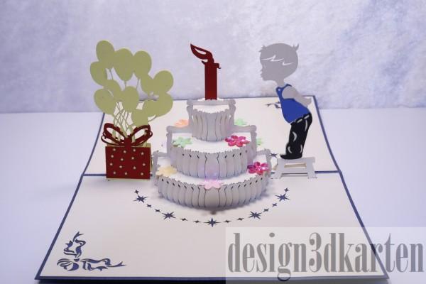 Geburtstagstorte mit Junge von design3dkarten