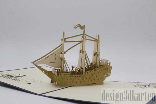 Schiff mit Besatzung von design3dkarten