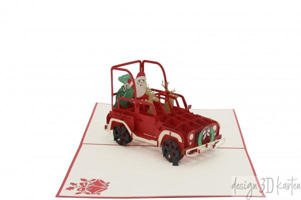 Weihnachtsmann im Jeep von design3dkarten