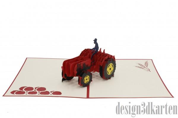 Traktor rot, Oldtimer von design3dkarten