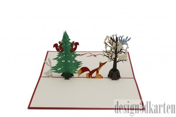 Winterlicher Wald von design3dkarten
