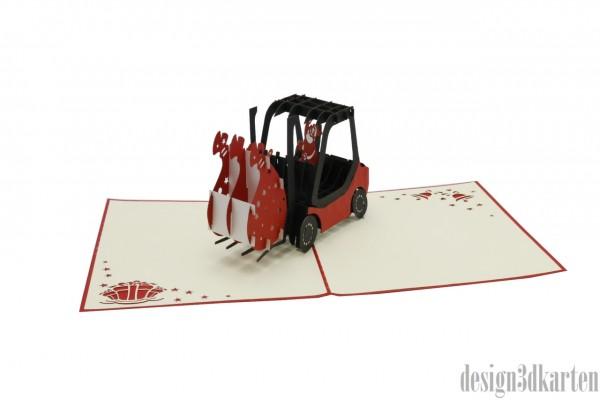 Weihnachtsmann im Gabelstapler von design3dkarten