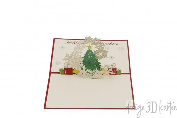 Weihnachtsbaum mit Schneeflocken von design3dkarten