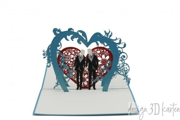 Gleichgeschlechtliches Hochzeitspaar unter dem Blumenbogen von design3dkarten