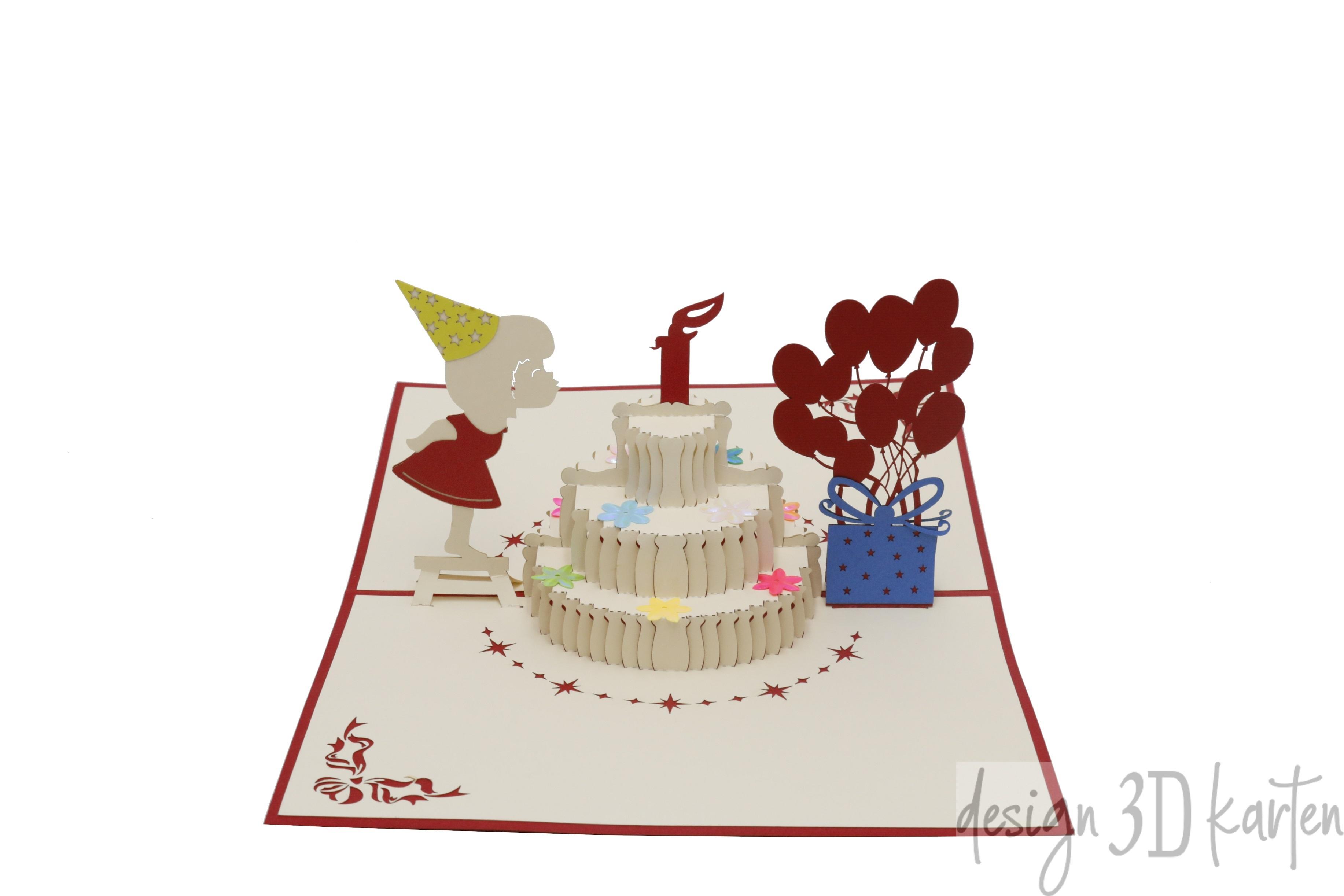 Geburtstagstorte Mit Mädchen Von Design3dkarten