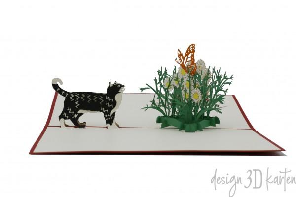 Katze mit Schmetterling von design3dkarten